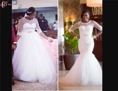 Cestbella Long Sleeve Gorgeous Wedding Popular Long Train Mermaid Pure White us 4
