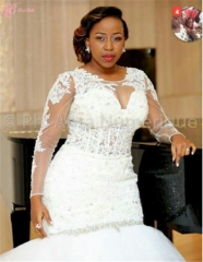 Cestbella Latest Design Around Neck Long Sleeve Glorious Wedding Dress Pure White us 4