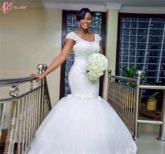Cestbella Fashionable Luxury Sleeveless Crystal Beaded Wedding Dress Pure White us 4