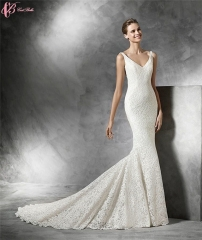 Cestbella Elegant Lace Beaded Gorgeous Luxury Wedding Dress Deep V Mermaid Pure White us 4