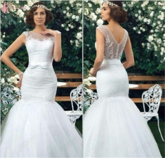 Cestbella New Arrived Hot Sale Mrmaid High End Sleeveless Shining Wedding Dress Pure White us 4