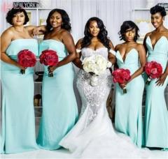 Cestbella High Quality African Popular Wedding Dress Long Train Mermaid Pure White us 4