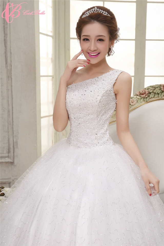 Kilimall: One-shoulder White Bridal Puffy Ball Gown Plus Slim Fit ...