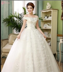 Suzhou factory wholesales off-shoulder lace appliques ball gown wedding dress Pure White us 4