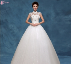 Cap sleeve slim fit high-neched lace appliques cheap ball gown wedding dress pure white us 4