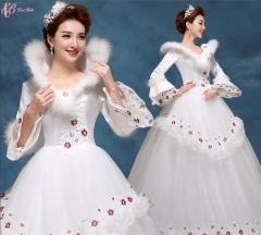 Lace high neck white bridal ball gown Princess Wedding Dress pure white us 4