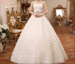 Suzhou factory custom made puffy ball gown off-shoulder wedding dress pure white us 4