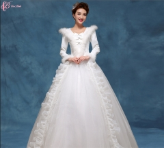 Long sleeve V-neck lace appliques long married ball gown wedding dress pure white us 4