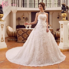 Romantic Full Rose Embroidery Floor Length Ball Gown Wedding Dress Cestbella pure white 01