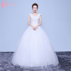 Flower Sequins Appliqued Beautiful Embroidery Ball Gown Wedding Dress Cestbella pure white us 4