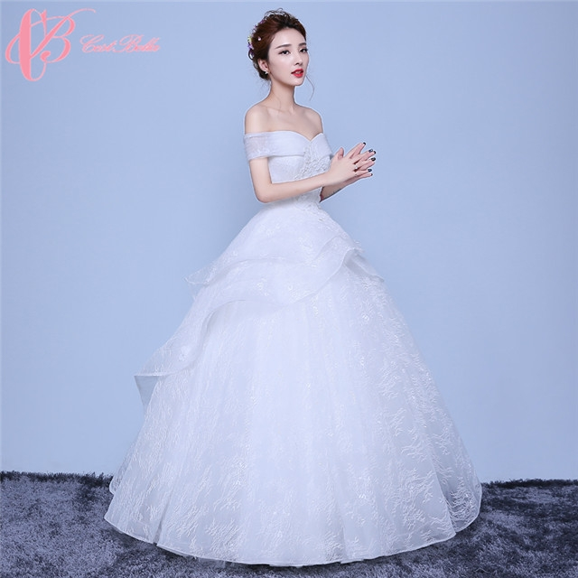 baf710d4443d Elegant Design Flower Shape Hem Off Shoulder Ball Gown Wedding Dress  Cestbella image image image image ...