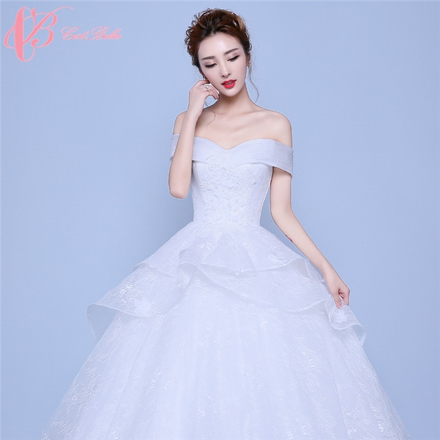 57011ca00eae Elegant Design Flower Shape Hem Off Shoulder Ball Gown Wedding Dress  Cestbella image image ...