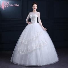 Graceful Tulle Long Sleeve Sequins Crystal Layered Embroidery Ball Gown Wedding Dress Cestbella pure white us 4