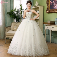 Sexy Lace White Crystal Beaded Ball Gown Wedding Dresses 2017 Luxury pure white us 4