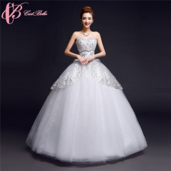 Graceful Tee Ball Gown Sequin and Beads Appliqued Wedding Dress Cestbella pure white us 4