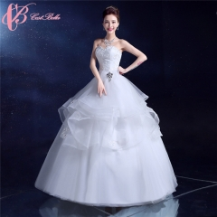 Layered Ball Gown Dress Big Crystal Flower Decorating Wedding Dress Cestbella pure white us 4