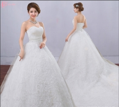 Princess contracted long train white bridal ball gown wedding dresses pure white us 4