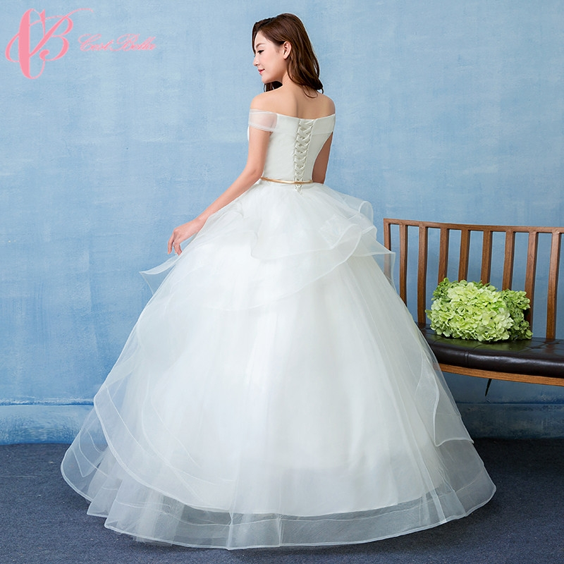 Simple Wedding Gowns In Kenya: Pure White Off Shoulder Simple Angel Style Ball Gown