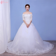 African Traditional Ball Gown Off-Shoulder Wedding Dress Simple pure white us 4