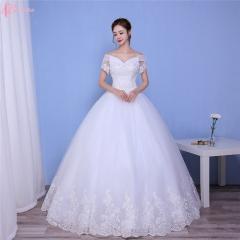 New Design China Guangzhou Ball Gown Rhinestone Plus Size Wedding Dress pure white us 4