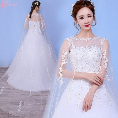 Off-shoulder gown 2017 new design chapel train puffy princess wedding dress pure white us 4