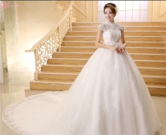 Lace chapel train short sleeve high-waisted ball gown princess wedding dress pure white us 4