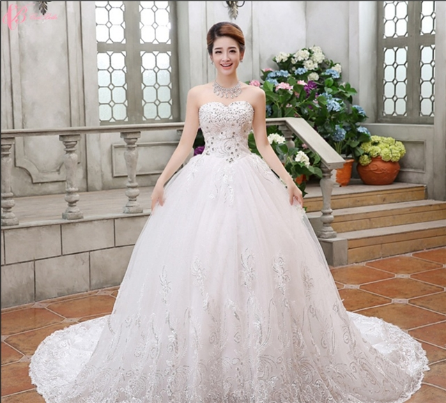Kilimall: Latest chapel train puffy off shoulder ball gown princess ...