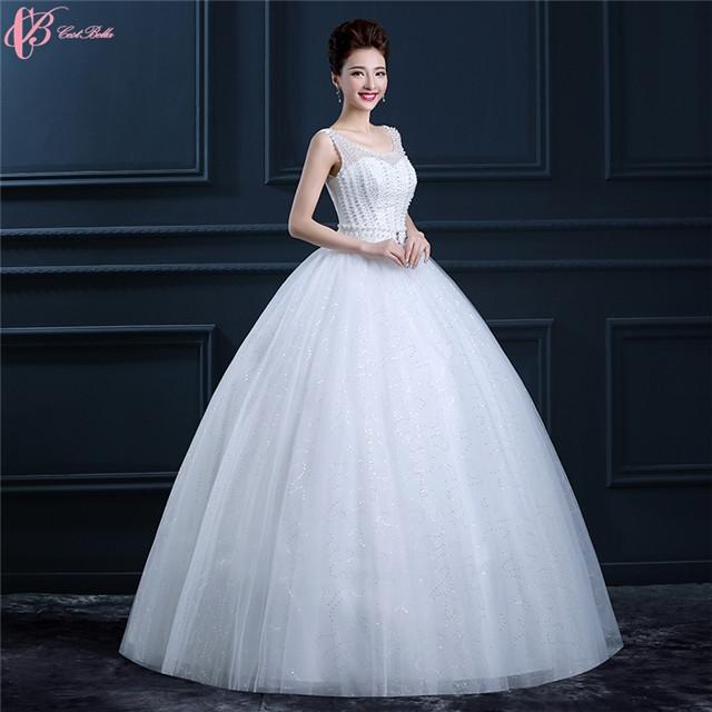 Sexy Lace Cinderella Ball Gown Wedding Dress Rhinestone