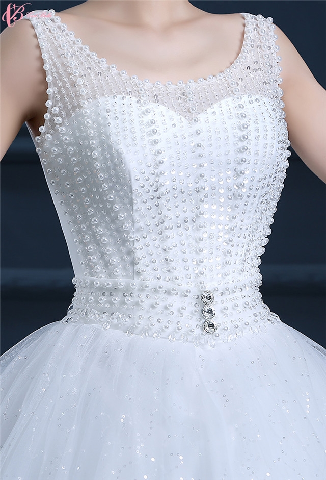 Sexy Lace Cinderella Ball Gown Wedding Dress Rhinestone Beaded
