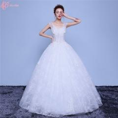 2017 Elegant Bridal Luxury Wedding Dress Ball Gown Lace Applique pure white us 4