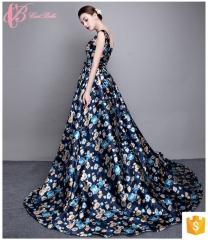 Showy-colored Florist Printed Floor-Length Sleeveless Women Guangzhou Evening Dress 2017 blue us 4