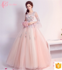 Korean ladies two piece floral chiffon sequence evening dresses party wear gowns for ladies pink us 4
