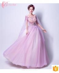 Turkish puffy purple ball gown bohemian chiffon evening dress pink us 4