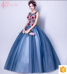 traditional formal Mexican Asian mother of bride evening dress blue us 4