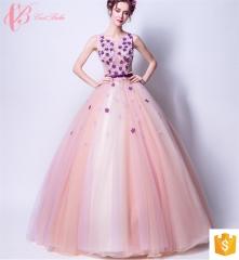 puffy pink ball gown women's fashion Guangzhou wholesale evening dress pink us 4