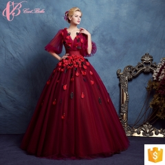 High-end Dark Red Kayting Ladies Chiffon Two Piece Party Wear Long Evening Dresses red us 4