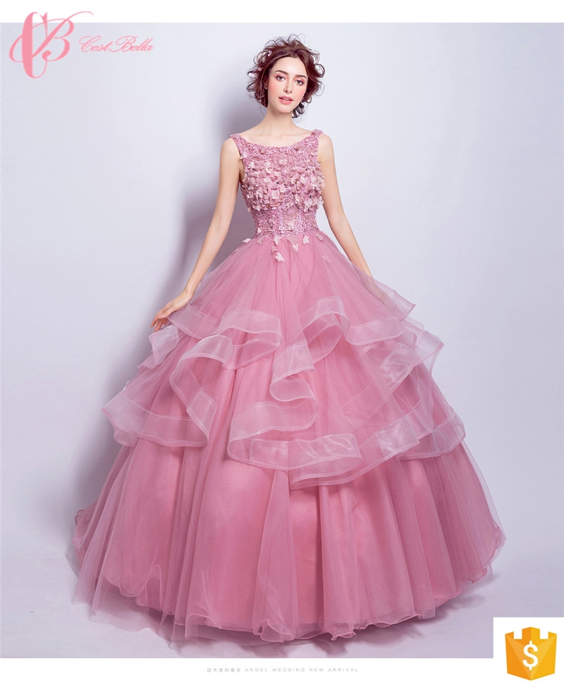 Kilimall: marine flower girl long trains puffy pink ball gown ...