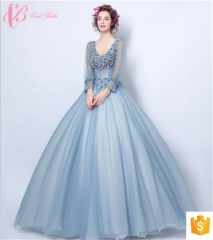 long sleeve gown formal cocktail girls party evening dresses blue us 4