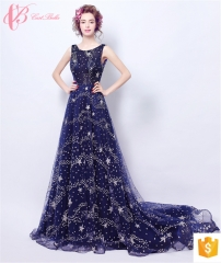Deep V Back Women Embroidered Mexican Embroidery Silk Dress Ladies Chiffon Two Piece Evening Dresses blue us 4