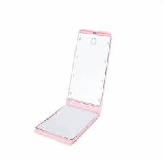 Foldable LED Lighted Vanity Mirror Smart Touch Kickstand Lighted Makeup Mirror Adjustable Brightness pink normal