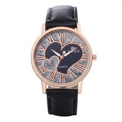 Heart Pattern Leather Band Contracted Quartz Watch for Women Men Female Male Wrist Watches black normal