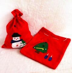 Christmas Candy Bags Santa Claus Drawstring Gift Bag Reusable Goodie Pocket Sweet Xmas Stocking red random design