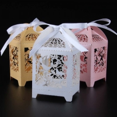 50pcs birdcage laser cut wedding favor box love birds candy box gift wedding favors supplies White regular