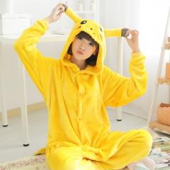 Outdoor Top Winter Warm Flannel Onesie Pajamas Adult Unisex One Piece Pikachu Pajama yellow S