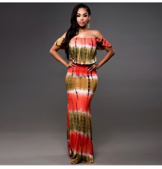 Ouneed Summer Women African Style Dress, Sexy Sleeveless African Tribal Floral Print Long Dress printing m