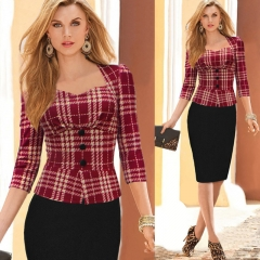 Women Dress Plaid Patchwork Long Sleeve Elegant Dress red s