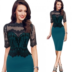 Ladies's Elegant Vintage Retro Floral Lace Peplum See Through Mesh Bodycon Fitted Dress red s