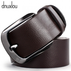 Brand Metal Alloy Pin Buckle Belts PU Leather Business Belt for Men Fashion Waistband Brown 110-125cm
