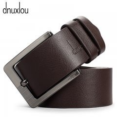 Quality Pin Buckle Male Faux Leather Belt Black Brown Business Brand Belts Metal Buckle Waistband brown 110-125cm