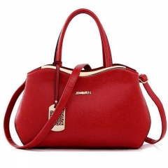 Women's handbags shoulder diagonal cross-Boston handbags classic casual bag red 28cmx8cmx20cm